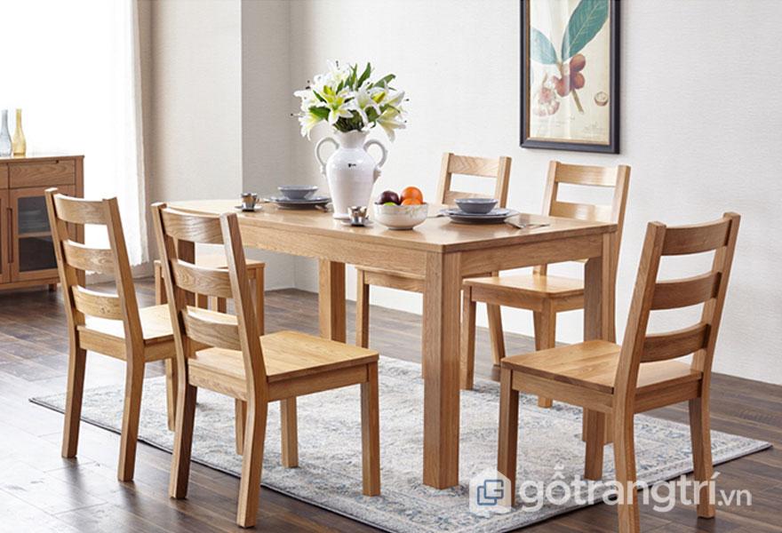 Bộ bàn ăn gỗ sồi 5 ghế hiện đại (Ảnh: Internet)