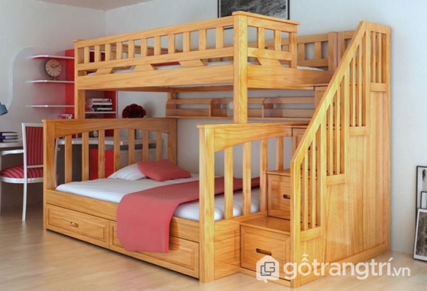 Giường ngủ tầng bằng gỗ thông (Ảnh: Internet)