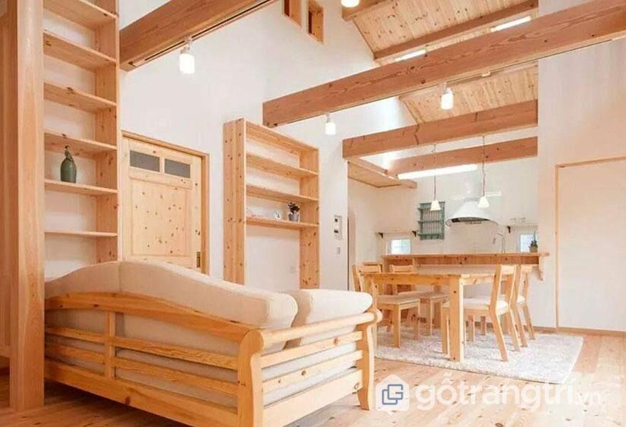 Nội thất phòng khách bằng gỗ thông (Ảnh: Internet)