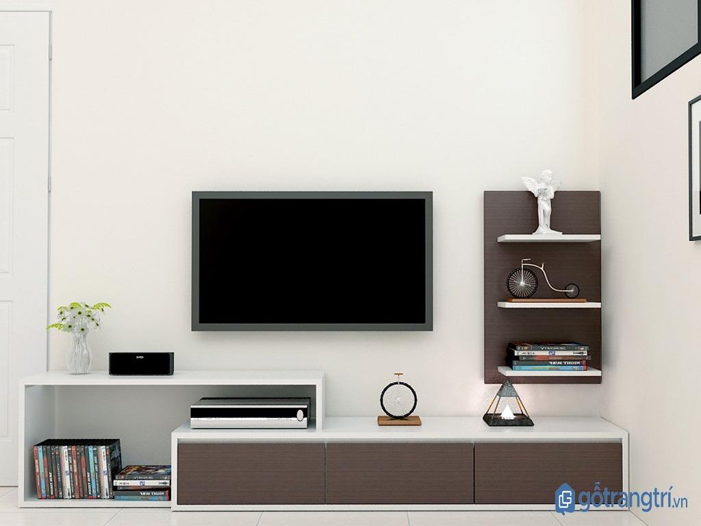 Kệ tivi kết hợp kệ trang trí phòng khách bằng gỗ MDF. (ảnh: internet)
