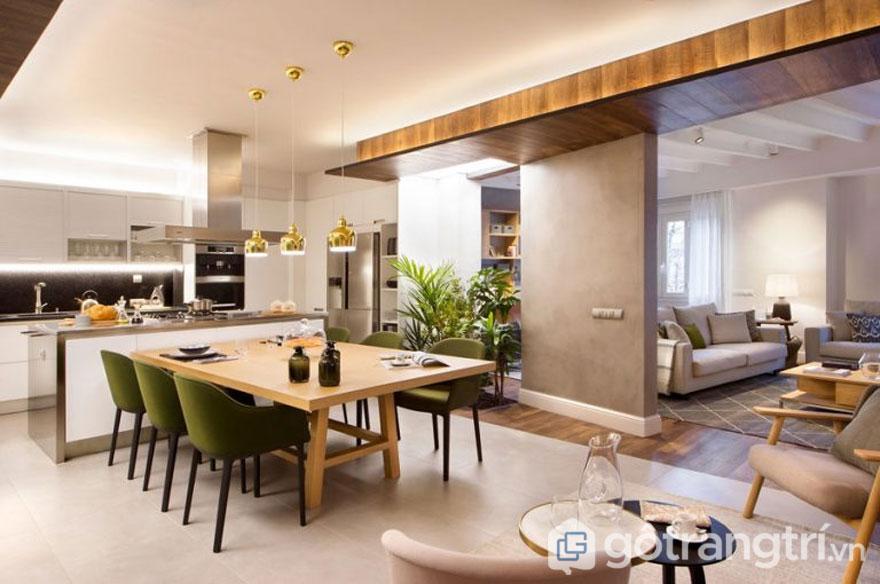 Không gian bếp đẹp: Thiết kế liên thông phòng khách (Ảnh: Internet)