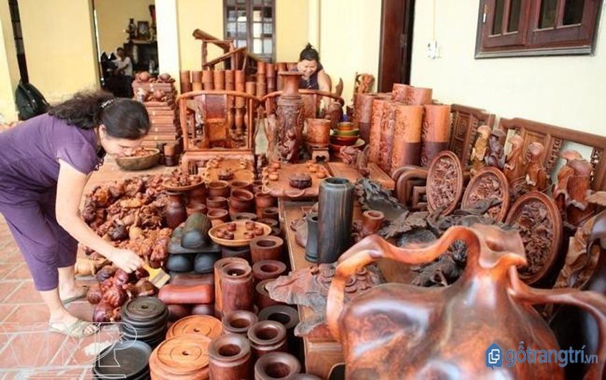 Sản phẩm mỹ nghệ của làng nghề tiện gỗ Nhạn Tháp ngày càng đa dạng, phong phú. (ảnh: internet)