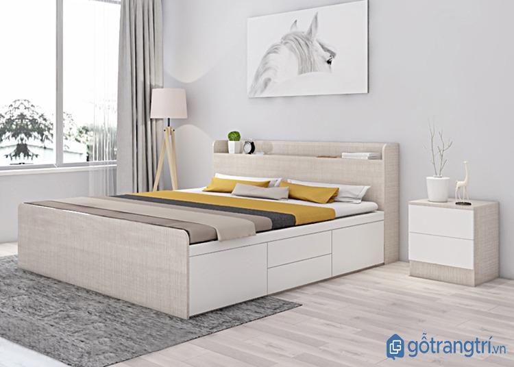 Giường ngủ bằng gỗ nhân tạo có ngăn kéo tiện dụng. (ảnh: internet)