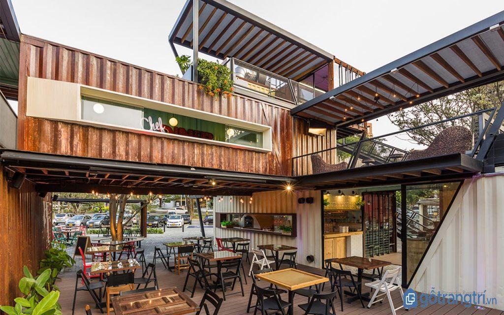 Thiết kế nội thất quán cà phê contener đẹp, ấn tượng. (ảnh: internet)