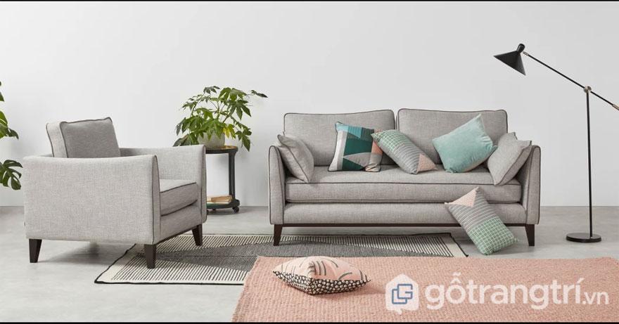 Nội thất Bắc Âu: Mẫu ghế sofa đơn màu trắng xám (Ảnh: Internet)