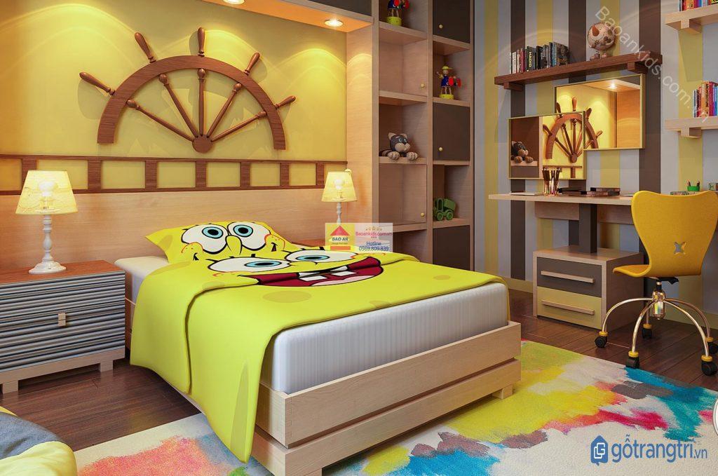 Mẫu giường ngủ đẹp, an toàn dành riêng cho trang trí phòng ngủ bé trai (ảnh: internet)