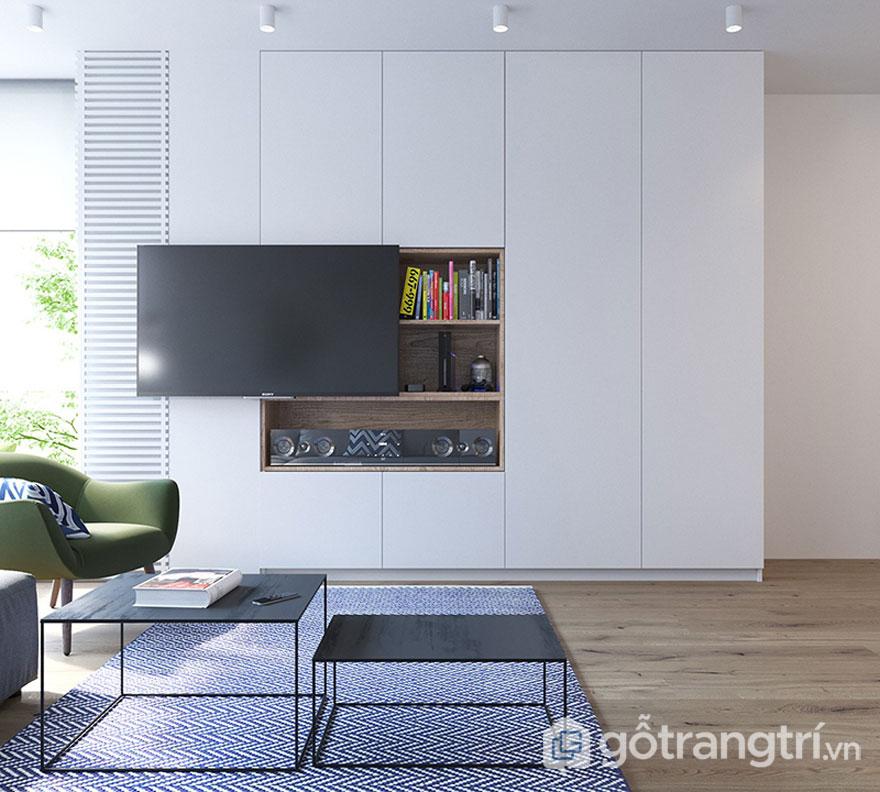 Kệ tivi màu trắng sữa làm nổi bật sự tiện nghi cho căn phòng khách (Ảnh: Internet)