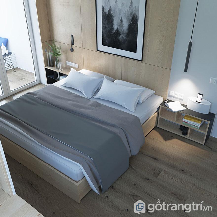 Chất liệu gỗ tự nhiên sử dụng lát sàn hay giường ngủ là đặc trưng của phong cáchscanadinavian ở Việt Nam (Ảnh: Internet)