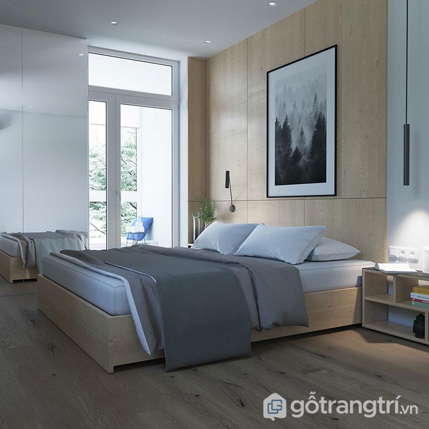 Vật liệu gỗ thân thiện với môi trường được bài trí mọi ngóc ngách của căn phòng ngủ (Ảnh: Internet)