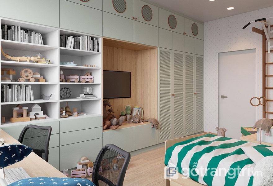 Phòng ngủ với ga trải màu kẻ sọc trắng xanh (Ảnh: Internet)