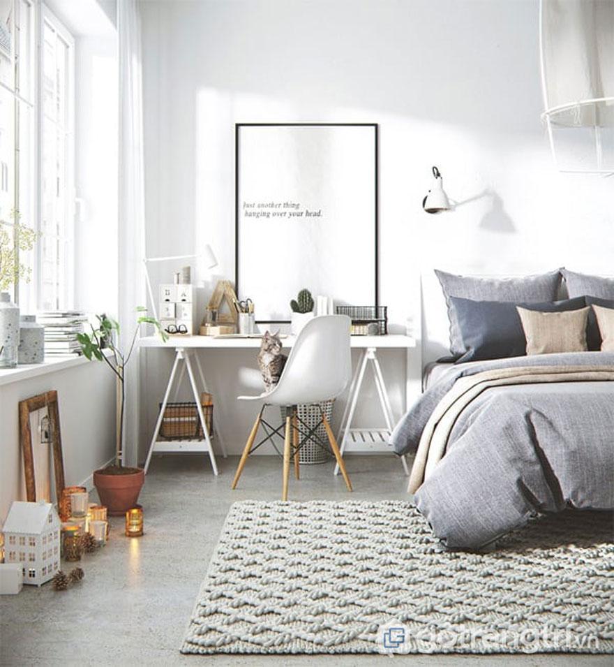 Phong cách scandinavian style còn thể hiện qua những gam màu trắng, xám, hồng nhạt (Ảnh: Internet)