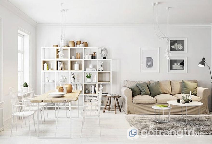 Kệ sách, bàn ăn làm từ gỗ thường hay bắt gặp trong những căn hộ trang trí theo phong cách scandinavian style (Ảnh: Internet)