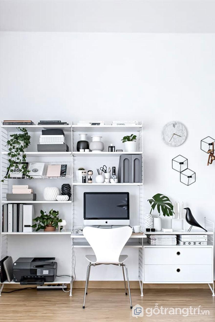 Phòng làm việc theo phong cách scandinavian style thiết kế khá đơn giản (Ảnh: Internet)