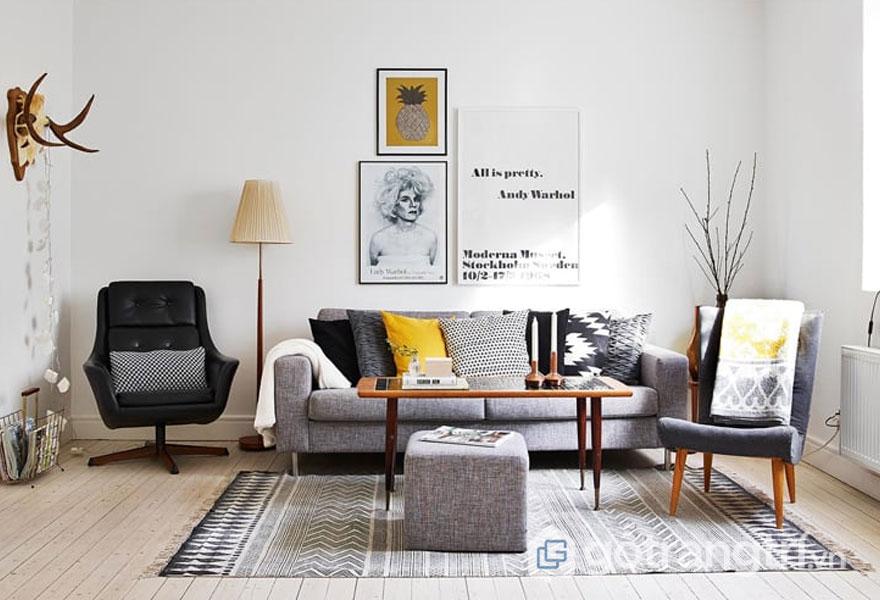 Phòng khách thiết kế tối giản, nội thất bài trí tinh tế (Ảnh: Internet)