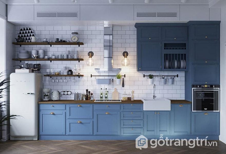 Không gian bếp kết hợp hài hòa giữa sắc màu trắng và xanh lơ (Ảnh: Internet)