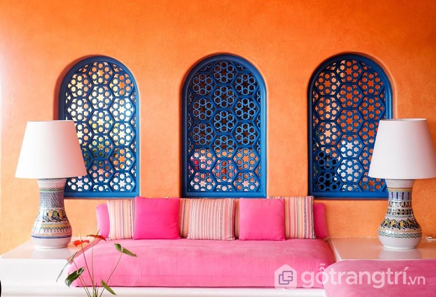 Chất liệu vải tự nhiên được ứng dụng trong phong cách thiết kế nội thất Marocan (ảnh internet)