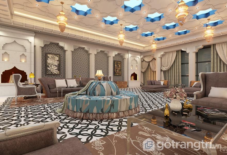 Phòng khách hiện đại hơn với chiếc sofa nổi bật giữa những món đồ truyền thống (ảnh internet)