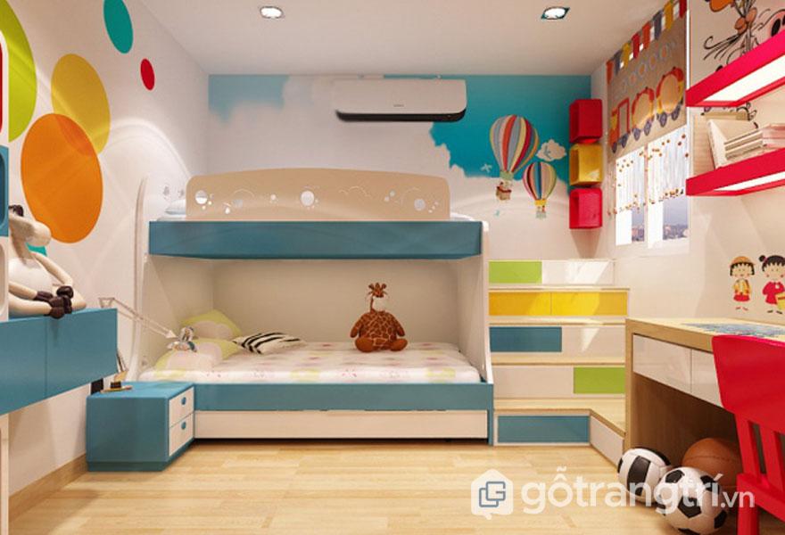 Phòng ngủ bé trai 3 - 5 tuổi ngộ nghĩnh, đáng yêu (Ảnh: Internet)