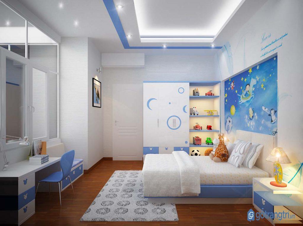 Mẫu tủ quần áo đẹp bằng gỗ công nghiệp trang trí phòng ngủ bé trai. (ảnh: internet)