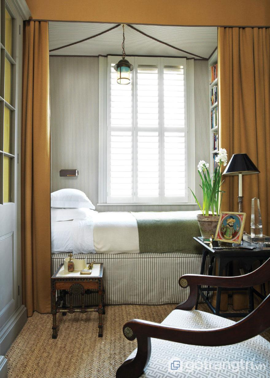 Phòng ngủ sử dụng nội thất kẻ sọc (Ảnh: Internet)