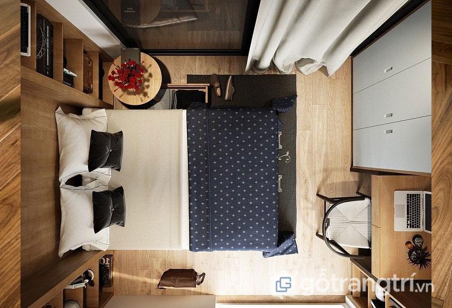 Phòng ngủ sử dụng tone màu gỗ (Ảnh: Internet)