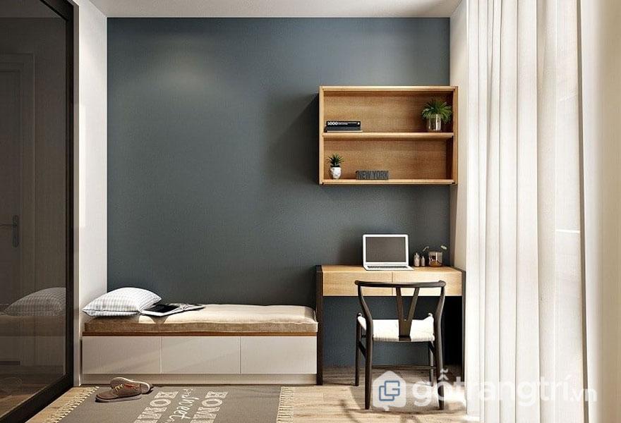 Trang trí bức tường màu xám cho phòng ngủ (Ảnh: Internet)