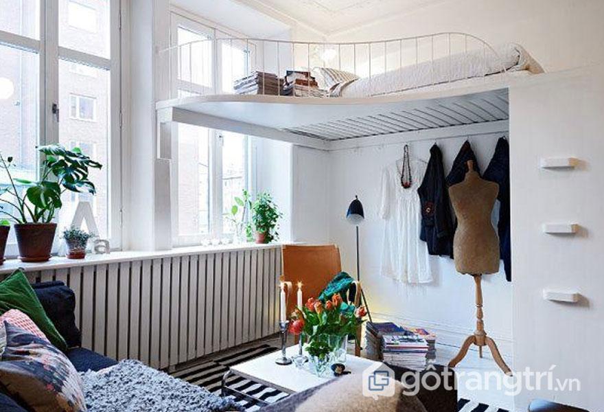 Phòng ngủ quá bé thì việc thiết kế gác xép là rất tiện nghi (Ảnh: Internet)