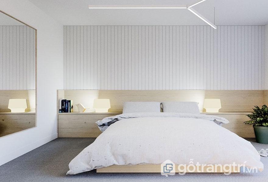 Phòng ngủ nhỏ trang trí với gam màu trắng, xám (Ảnh: Internet)