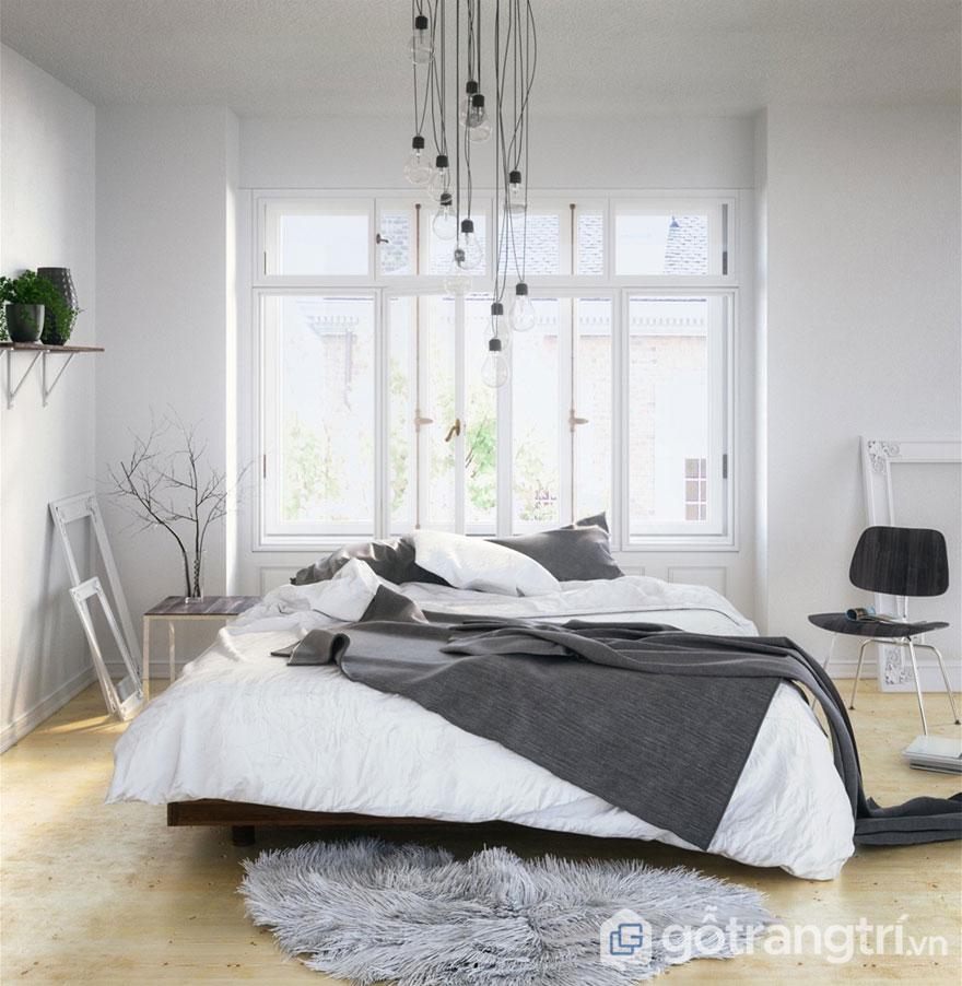 Phòng ngủ scandinavian nổi bật với thảm lót lông thú (Ảnh: Internet)