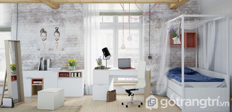 Phòng ngủ scandinavian với tông màu trắng chủ đạo và tiện nghi đồ nội thất (Ảnh: Internet)