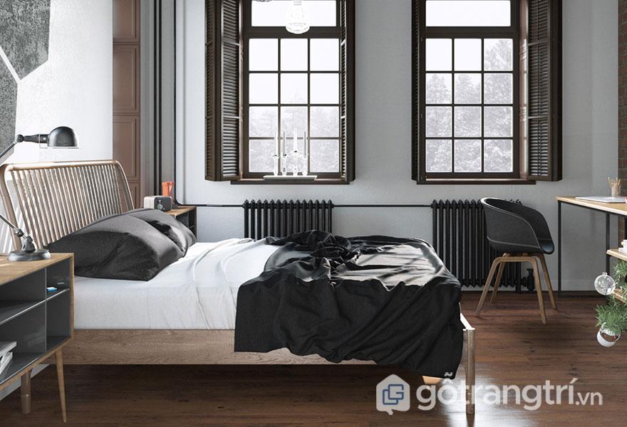 Phòng ngủ scandinavian có cửa sổ sẽ đưa được nguồn sáng tự nhiên vào (Ảnh: Internet)