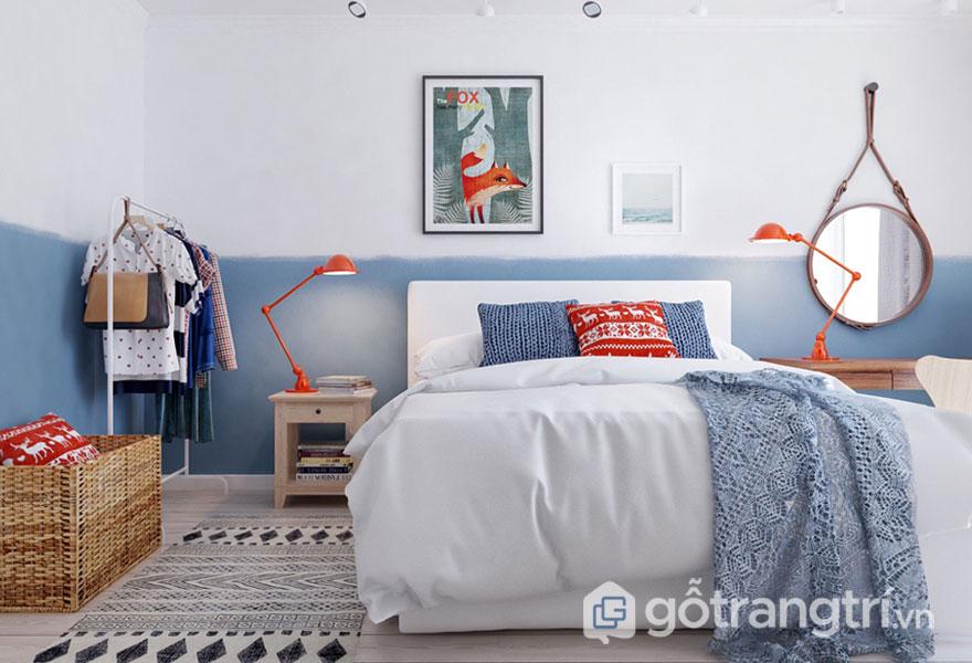 Phòng ngủ scandinavian nổi bật với tông màu nhã nhặn (Ảnh: Internet)