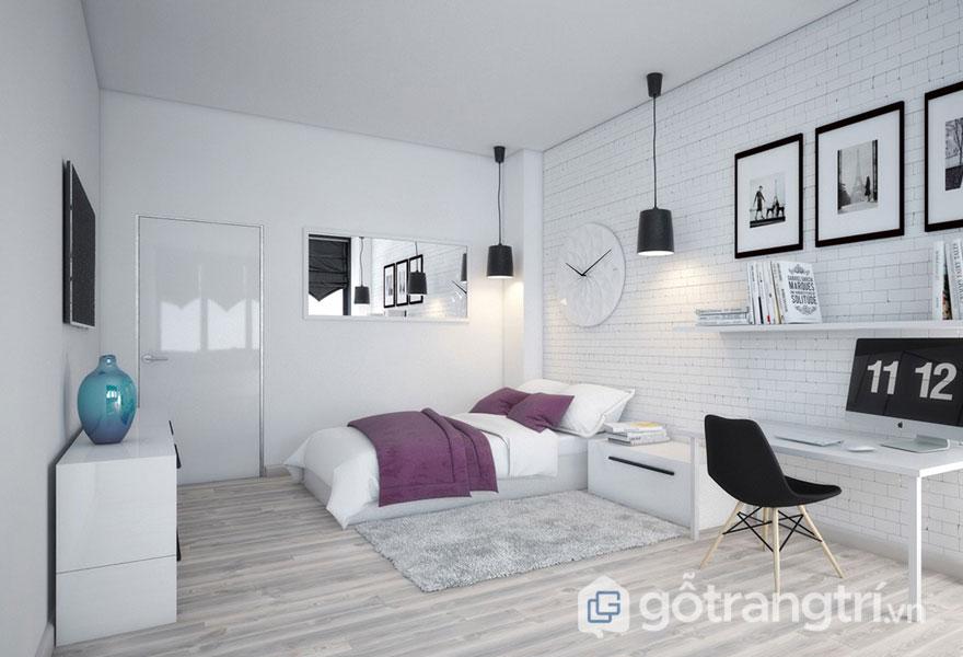 Phòng ngủ mang đậm hơi hướng scandinavian phối màu sắc tinh tế, hiện đại (Ảnh: Internet)