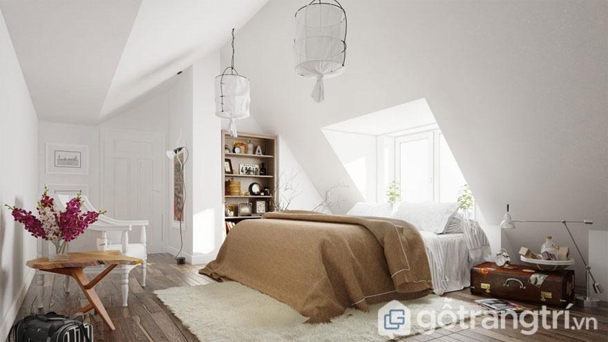 Phòng ngủ theo phong cách scandinavian phối màu sắc hiện đại (Ảnh: Internet)