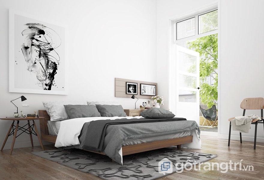 Phòng ngủ scandinavian với tầm view thoáng nhẹ, gần gũi với thiên nhiên (Ảnh: Internet)