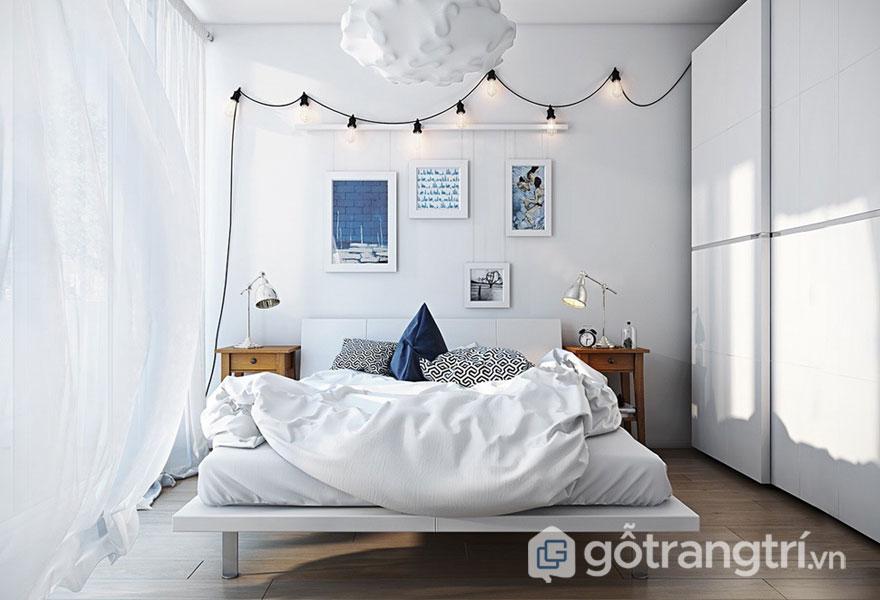 Phòng ngủ scandinavian với tông chủ đạo là gam màu trắng tinh khôi (Ảnh: Internet)