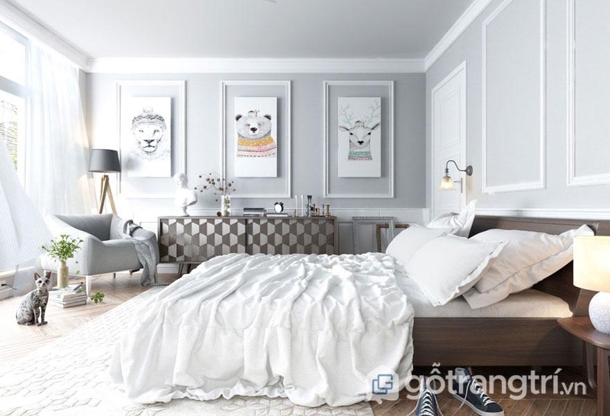 Phòng ngủ scandinavian phong cách khá đơn giản (Ảnh: Internet)