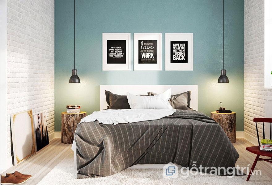 Phòng ngủ scandinavian: Sơn tường màu xanh nhẹ làm nền cho những bức tranh treo tường (Ảnh: Internet)