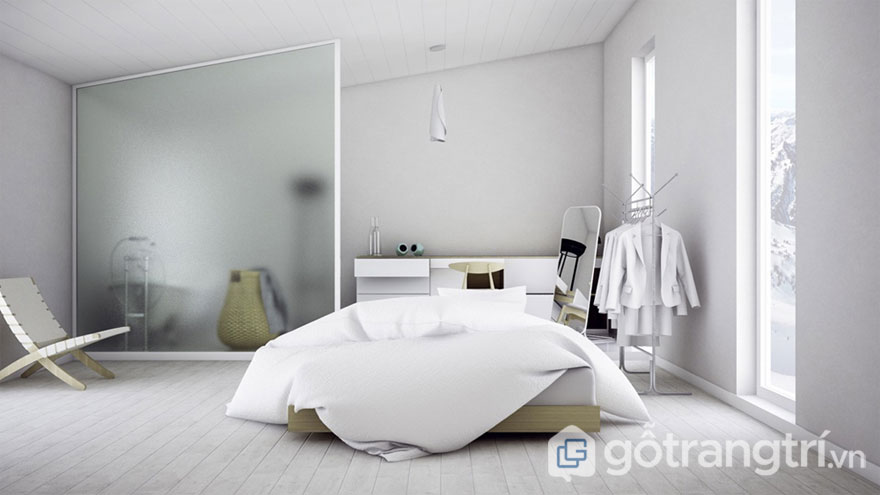 Phòng ngủ scandinavian thanh lịch với gam màu trắng (Ảnh: Internet)