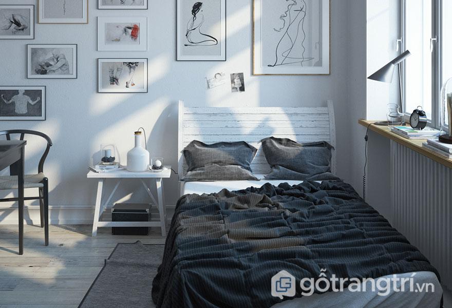Phòng ngủ scandinavian ấn tượng với nhiều tranh treo tường (Ảnh: Internet)