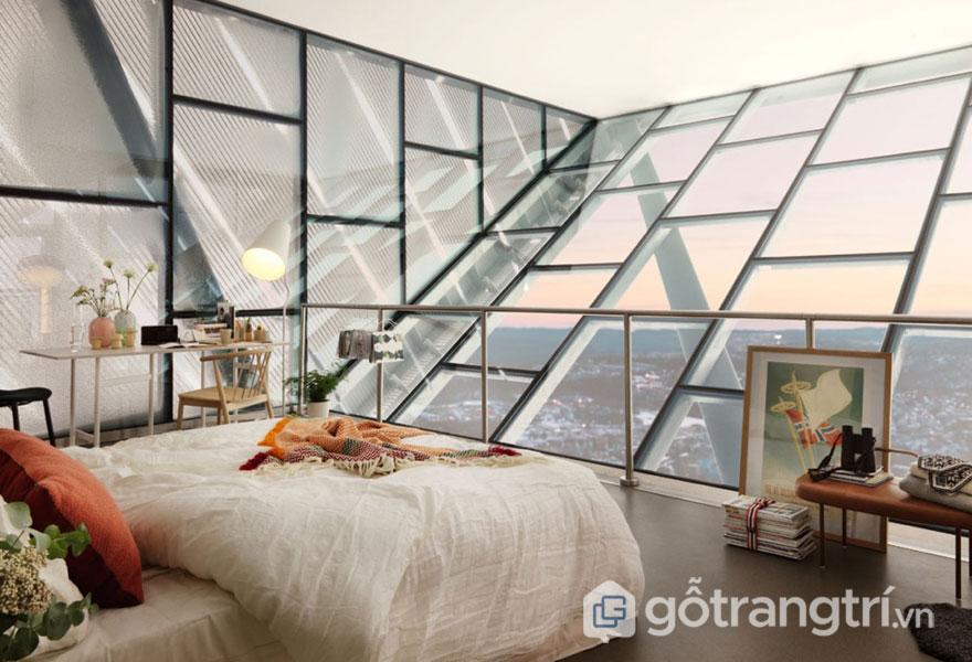 Phòng ngủ scandinavian trên cao có tầm view khá đẹp (Ảnh: Internet)