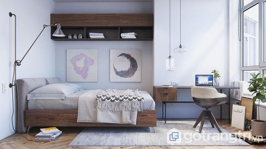 Phòng ngủ scandinavian tiện nghi và gọn gàng (Ảnh: Internet)