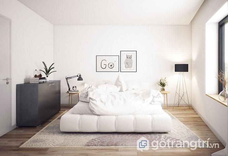 Phòng ngủ scandinavian sẽ ấm áp hơn với tấm thảm trải lông thú (Ảnh: Internet)