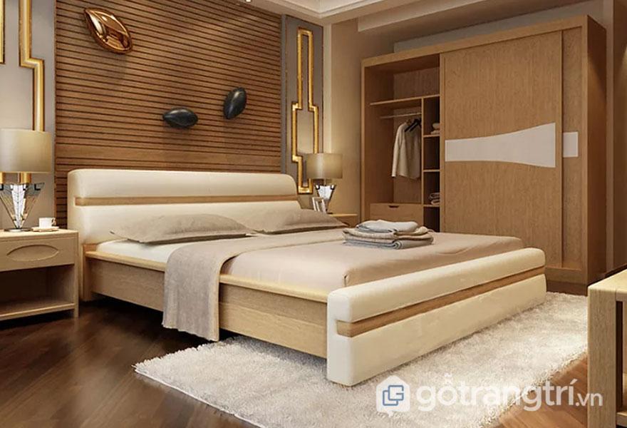 Giường gỗ, bọc da phong cách Bắc Âu GHS-966