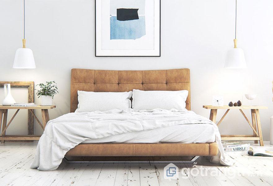 Phòng ngủ scandinavian được decor bởi tấm đệm màu nâu vàng nổi bật (Ảnh: Internet)