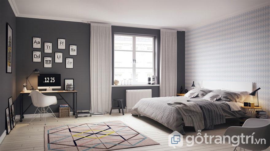 Phòng ngủ scandinavian nổi bật với tông màu chủ đạo là ghi và trắng (Ảnh: Internet)