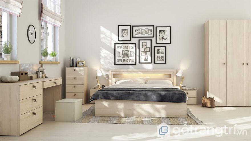 Phòng ngủ scandinavian đẹp dịu nhẹ khi có ánh sáng tự nhiên và màu vàng nhẹ của giường ngủ (Ảnh: Internet)