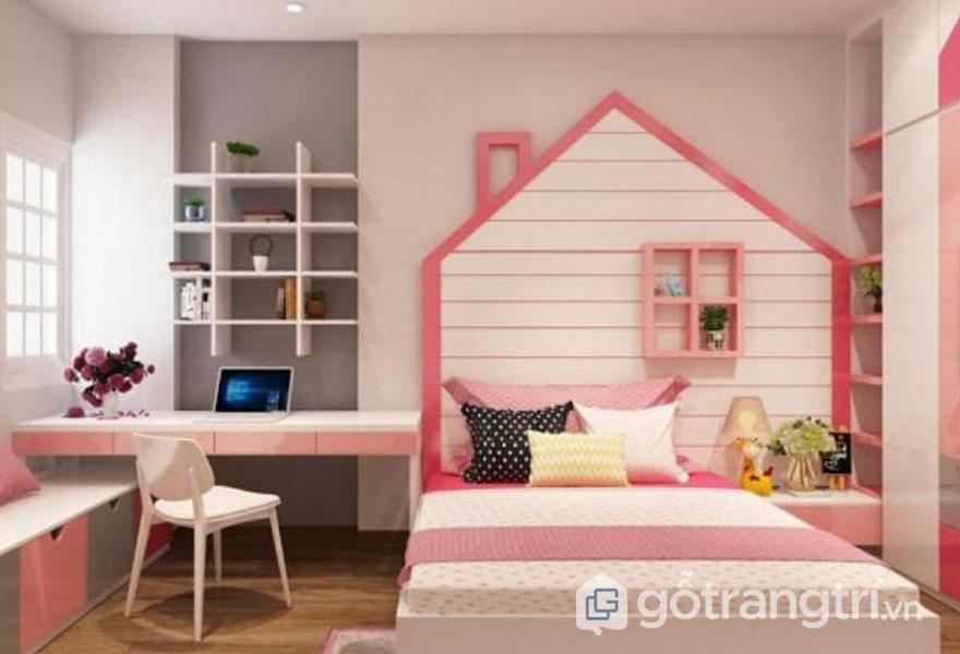 Phòng ngủ bé gái từ 6 - 12 tuổi cực đáng yêu với đồng bộ tone màu hồng phấn (Ảnh: Internet)
