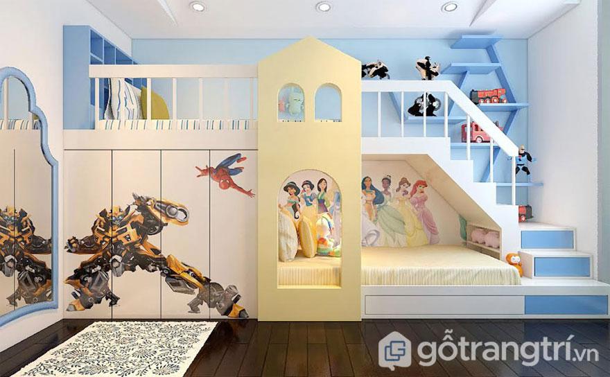 Phòng ngủ cho bé trai (Ảnh: Internet)