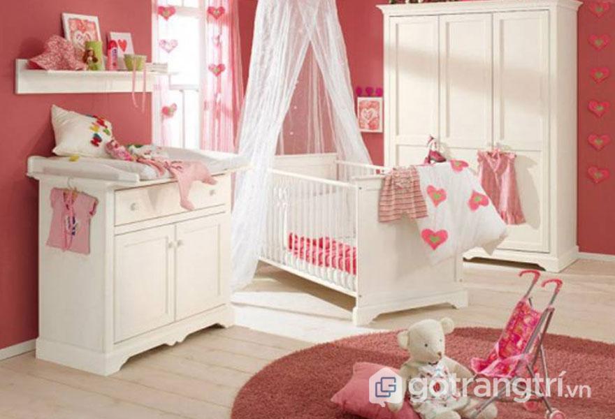 Phòng ngủ dành cho bé gái sơ sinh (Ảnh: Internet)